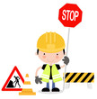 Roadworks Guy Holding up Stop Sign
