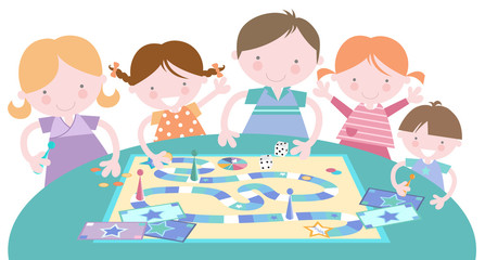 Happy Family Playing Traditional Board Game