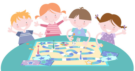 Kids Playing Traditional Board Game