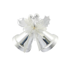 Couple silver Christmas bells on white background.