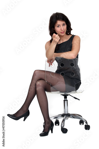 splendid brunette sat on chair