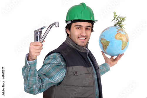 Plumber with a tap and a globe