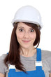 Happy female builder