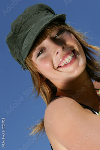 Woman wearing a hat outdoors