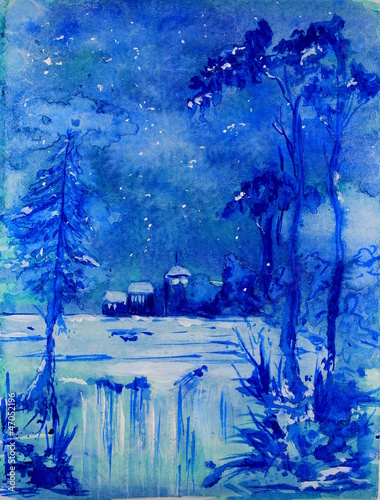 Blue Christmas Landscape