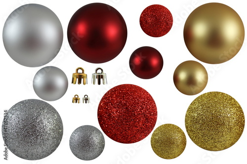 Gold silver and Red Xmas Balls Isolated
