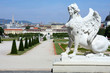 Sphinx statue and Belvedere garden in Vienna, Austria