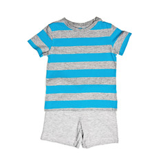 Children's wear - blue T-shirt and shorts isolated