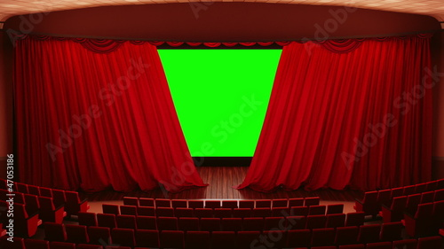 Opening red cinema theatre curtains.