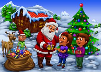 Santa distributing gifts to kids