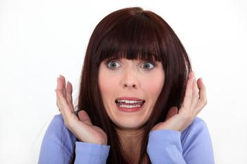 Horrified brunette.