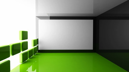 Modern green demo room interior with retractable screen
