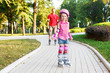 Preschool beginner in roller skates