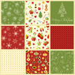 vector illustration of Christmas seamless pattern set