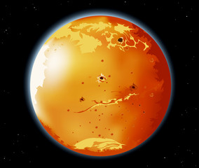 Mars planet in the universe abstract background