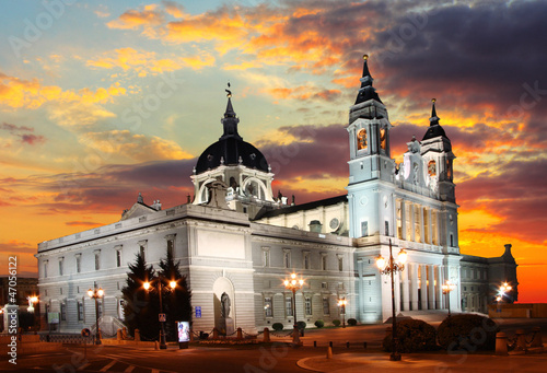 Madrid at sunset - Santa Maria la Real de La Almudena, Spain