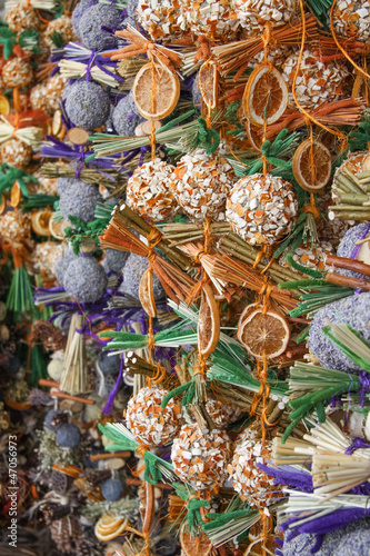 Christmas decorations at market stall, Munich, Germany