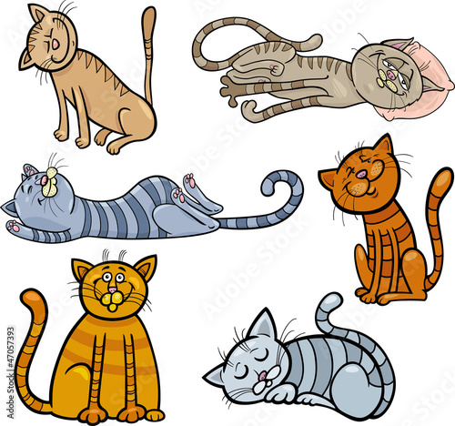 happy and sleepy cats cartoon set