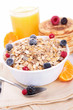 breakfast with muesli,berries and parncakes