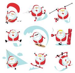 Extreme cartoon Santa set 1. EPS10. Separate layers