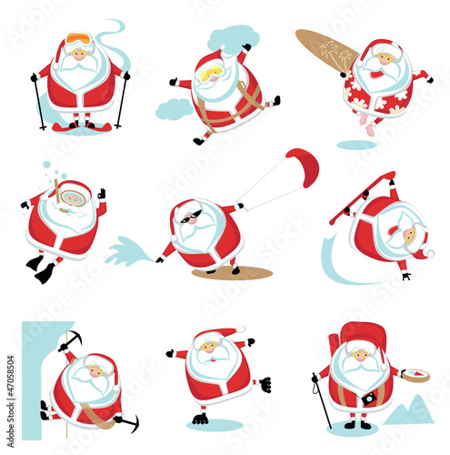 Extreme cartoon Santa set 2. EPS10. Separate layers