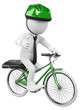 3D white business people. Bike to Work