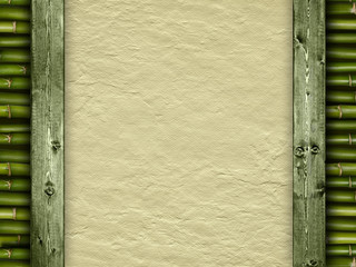 Template background - handmade paper and bamboo