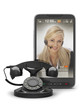Retro telephone and cell phone with woman on screen