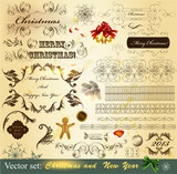Collection of Christmas calligraphic  vintage elements