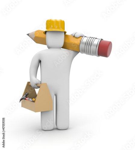 Worker with toolbox and pencil