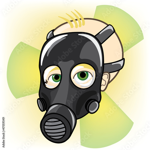 Baby wearing a gas mask