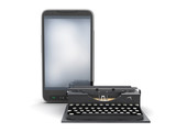 Retro typewriter and modern cell phone