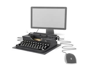 Typewriter, computer monitor and mouse