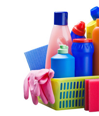 various cleaning products isolated
