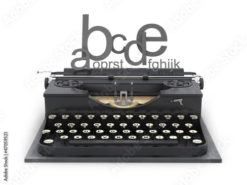 Typewriter and letters on white background