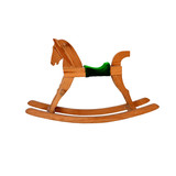 wooden rocking horse chair children on white background