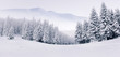 canvas print picture - Panorama of the foggy winter landscape in the mountains