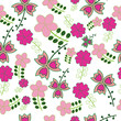 Seamless naive floral vector repeat background