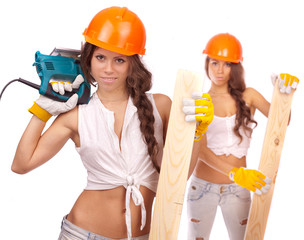 Gemini girls  with an electric saw and the board