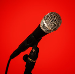 microphone on red