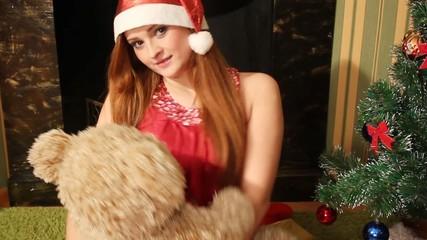 girl hug a teddy bear, full HD