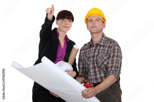 Architect holding plans