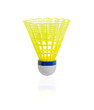 Yellow badminton on white background
