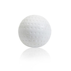 White Hockey ball on white background