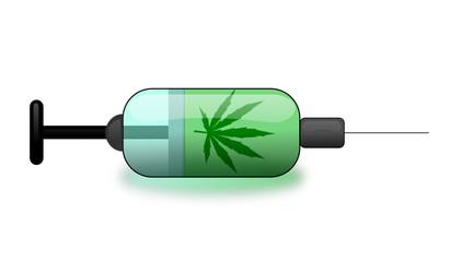 Seringue avec motif feuille de cannabis