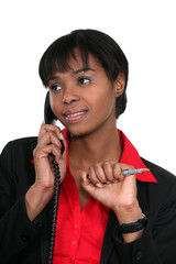 Woman flirting over the phone