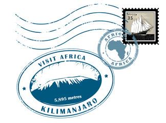 Set of Africa post stamp symbols, vector illustration