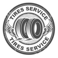Stamp with wheel and the words tires service written inside