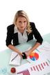 Woman examining charts