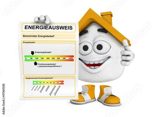 Kleines 3D Haus Orange - Energieausweis Konzept 1